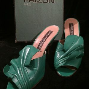 Maud Frizon green leather mules